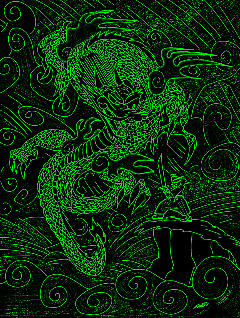 Green Dragon Cool Neon Backgrounds