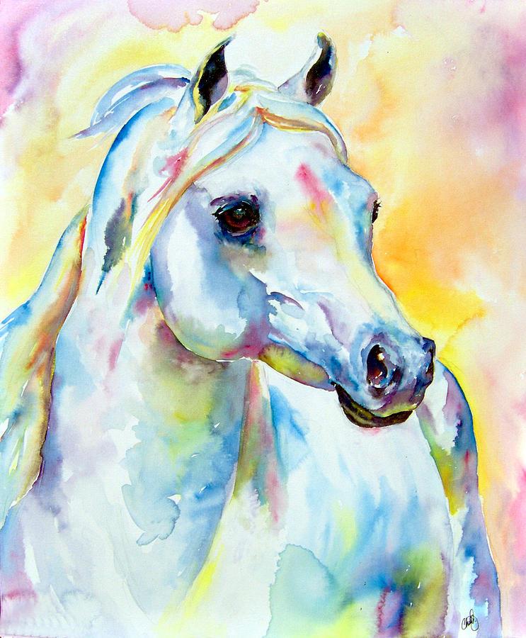 White Arabian Horse Paintings