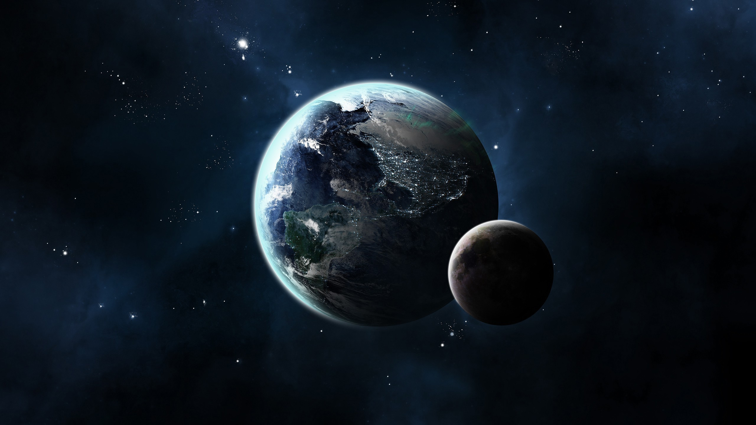 Earth and Moon Wallpaper