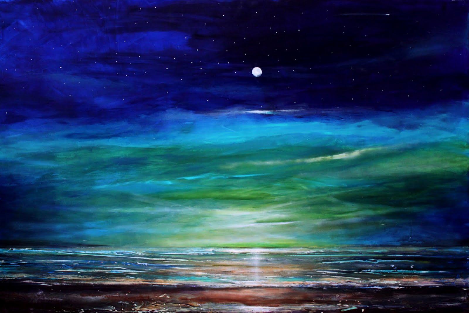 Beach at Night Painting