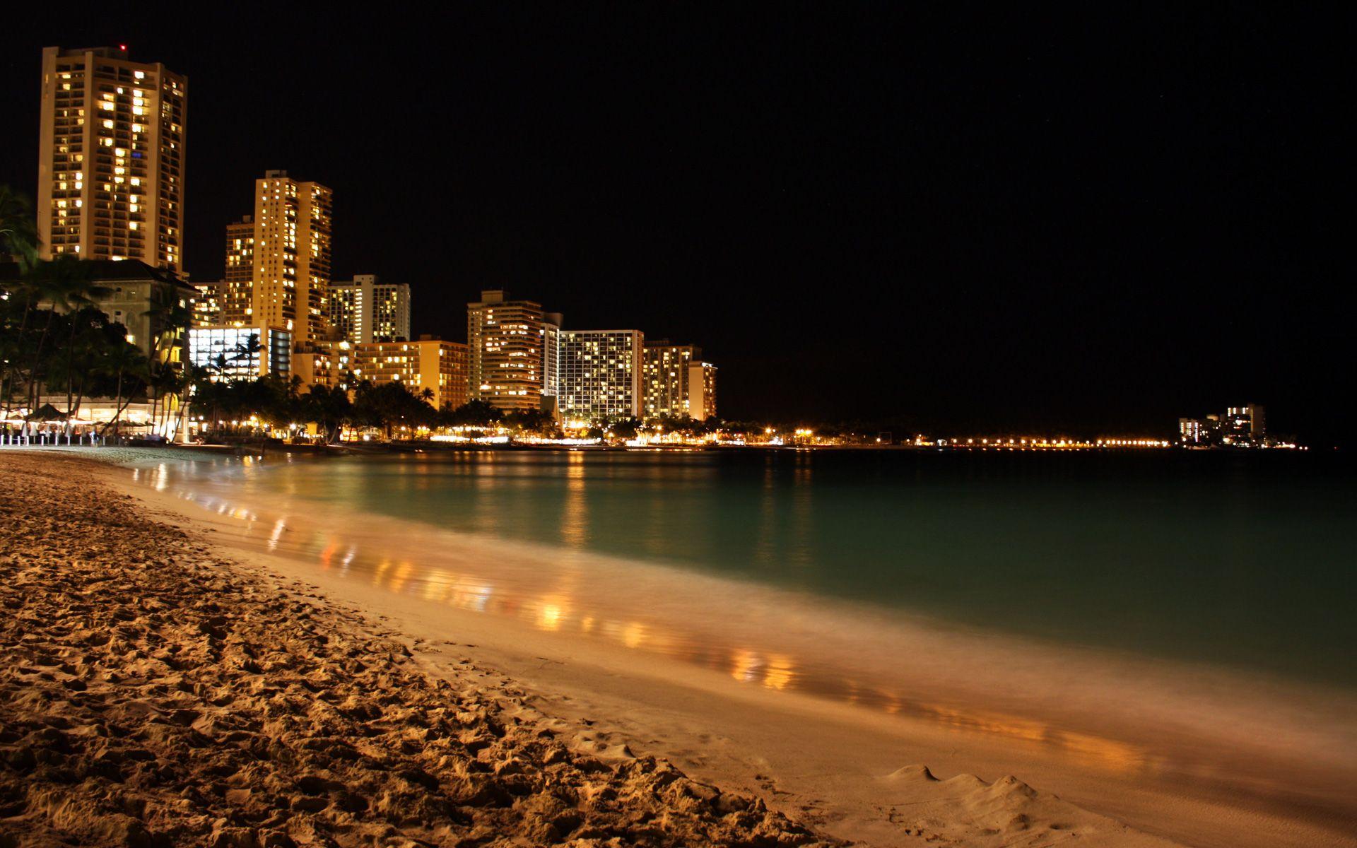 Night Beach HD Wallpaper