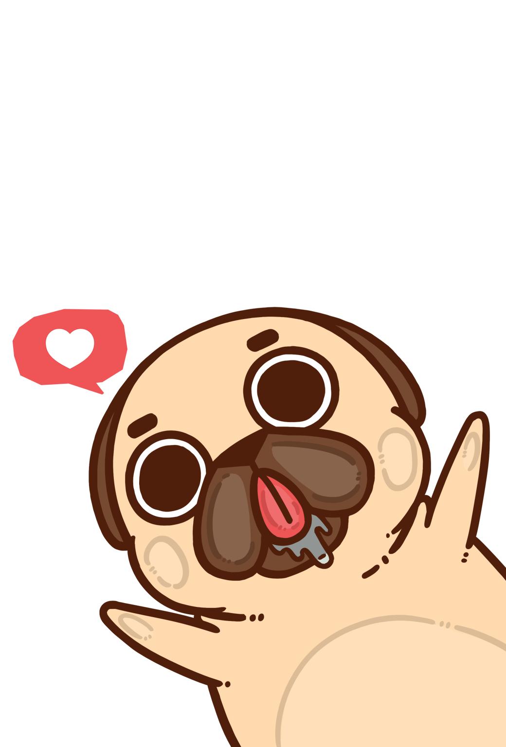 Cartoon Pug Wallpaper