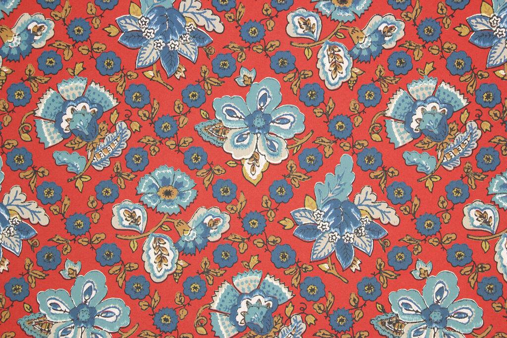 Blue Floral Vintage Wallpaper