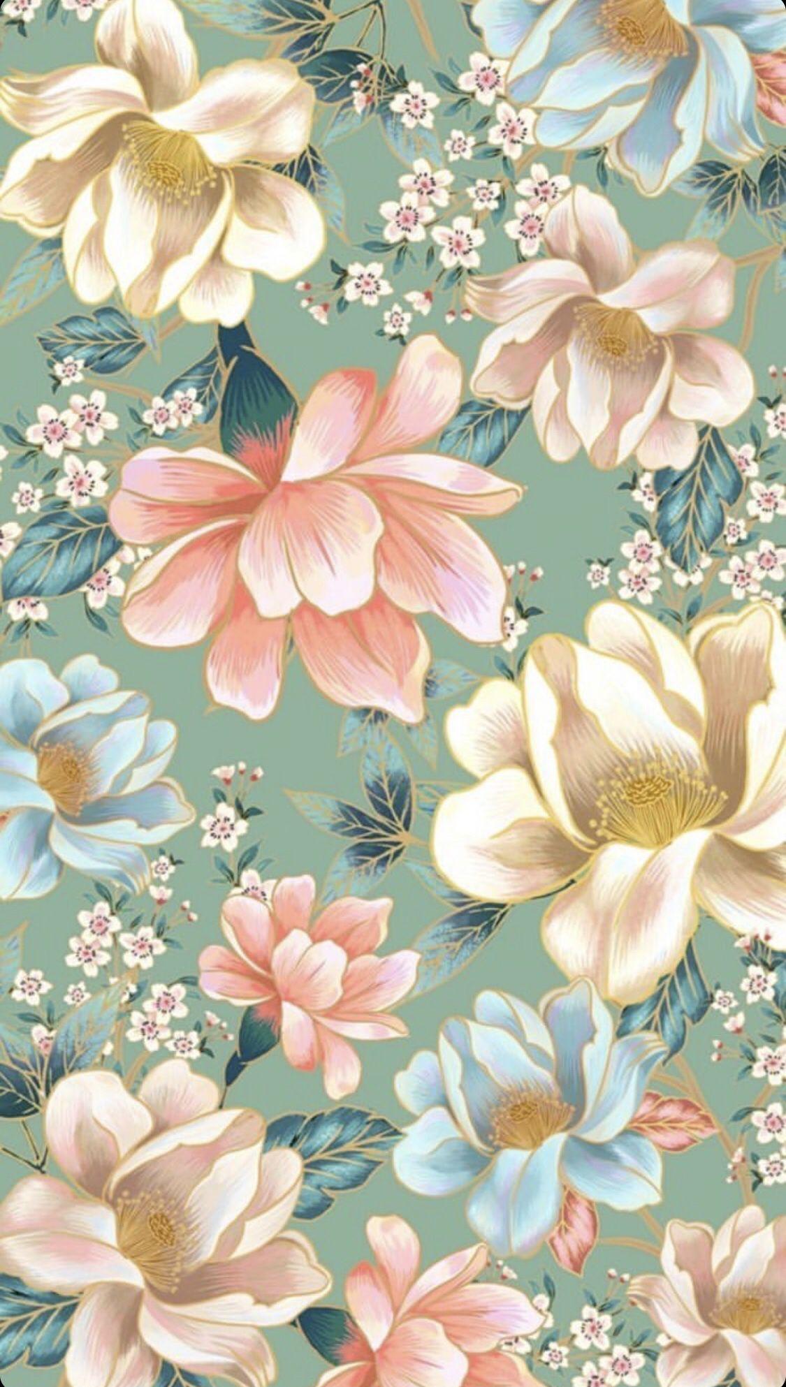 Vintage Flowers Floral Pattern Wallpaper