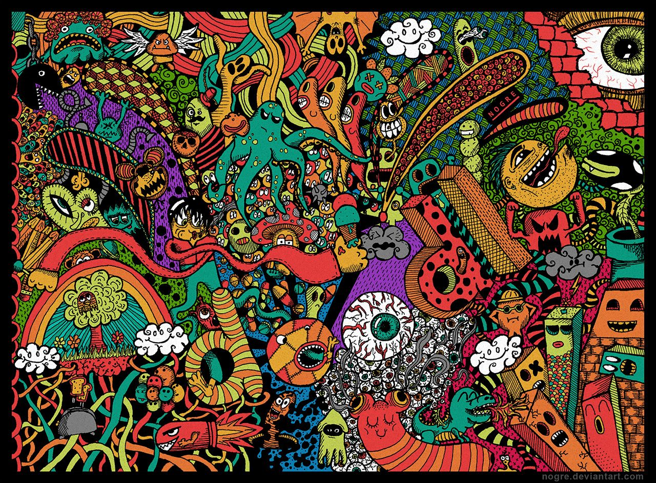 Cool Colorful Background Doodles
