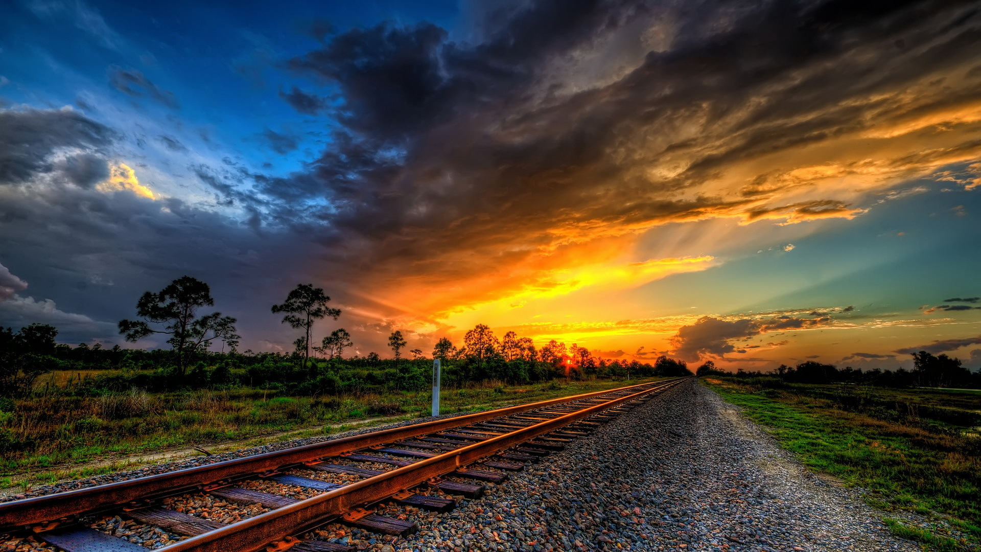 wonderful sunset on train tracks hdr hd desktop background