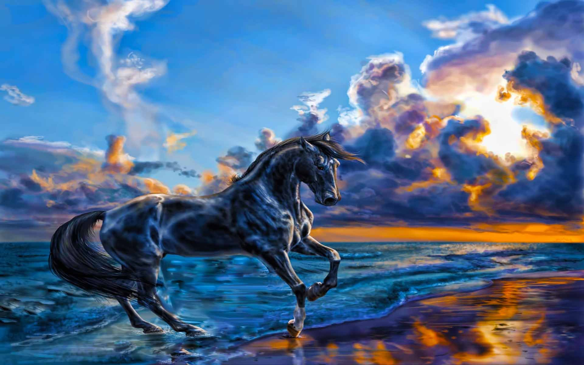 Wallpaperwiki Horse Nature Sea Sky Wallpapers Beauty Beach Mighty