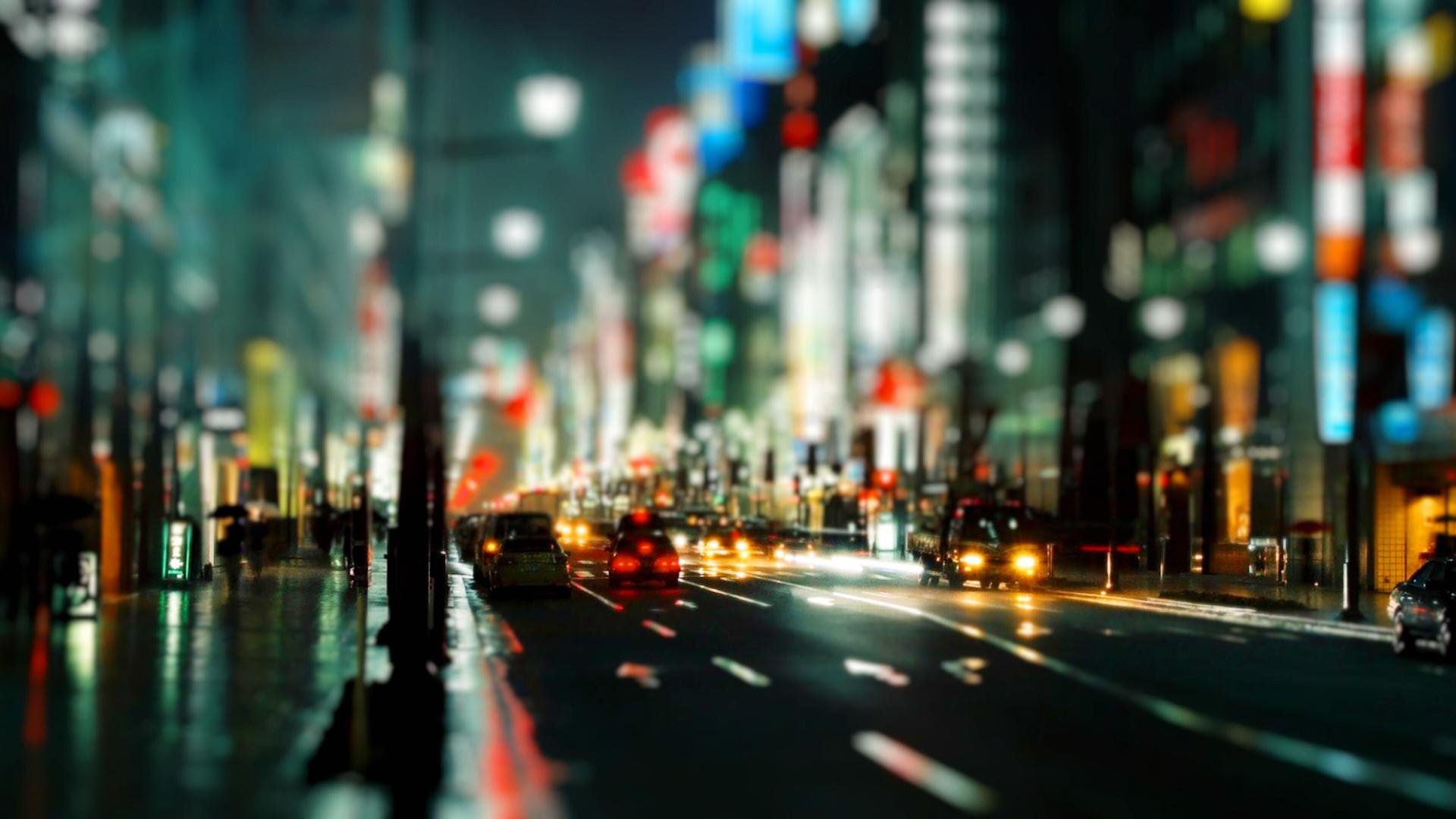 Wallpaperwiki Night City Wallpaper Blurry Cityscape Rain Unsharp