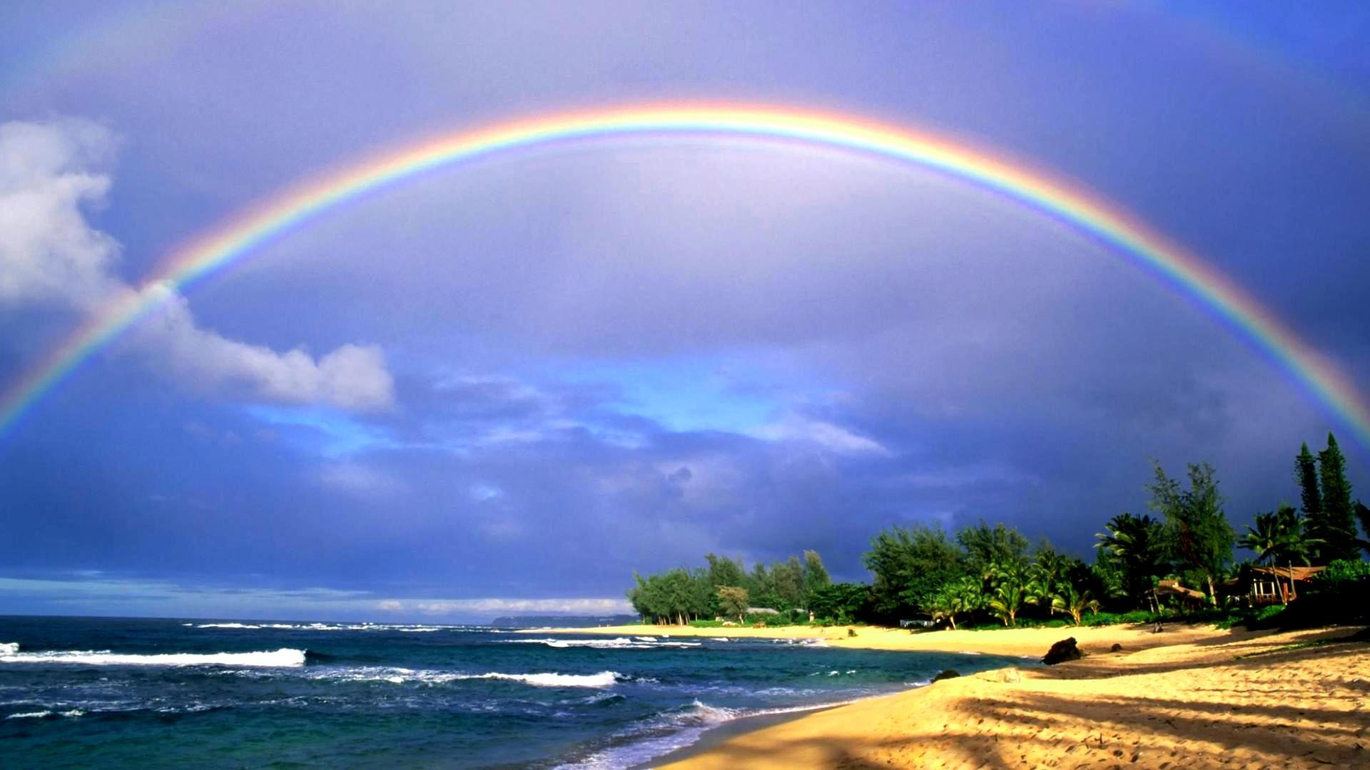 Rainbow Hawaii Beach Wallpaper HD Free Download
