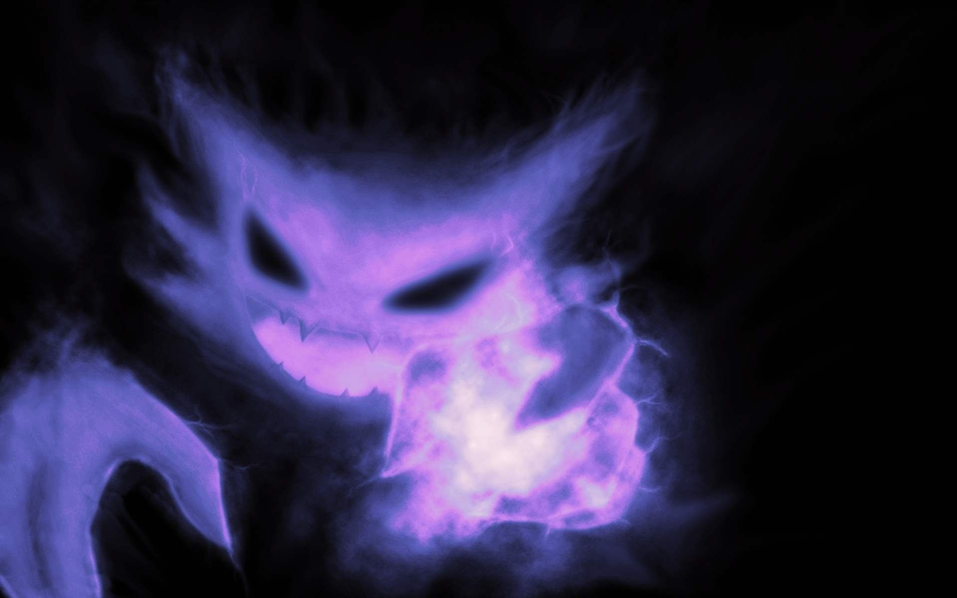 evil purple face of smoke in the dark