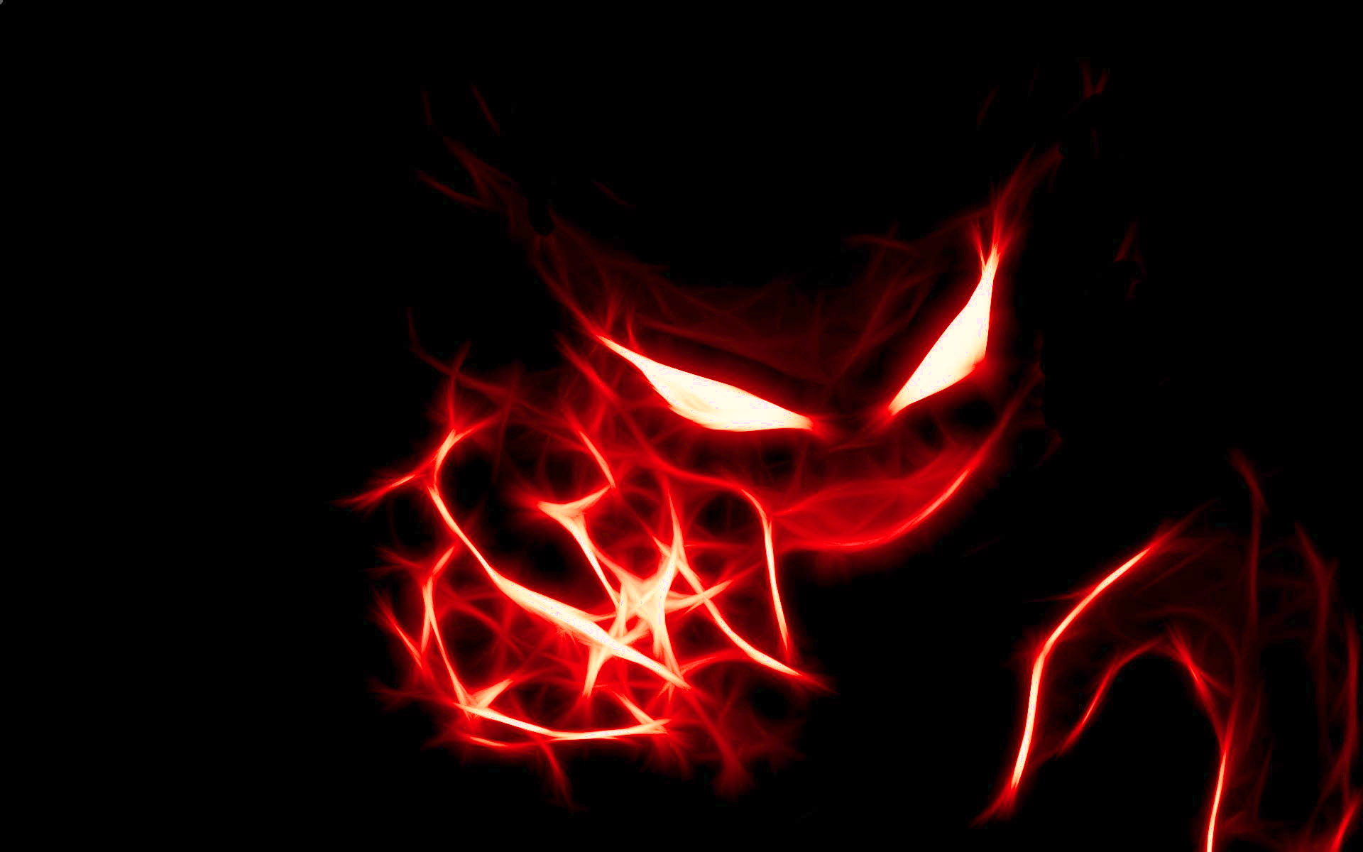 Awesome red mask in the dark with glowing eyes