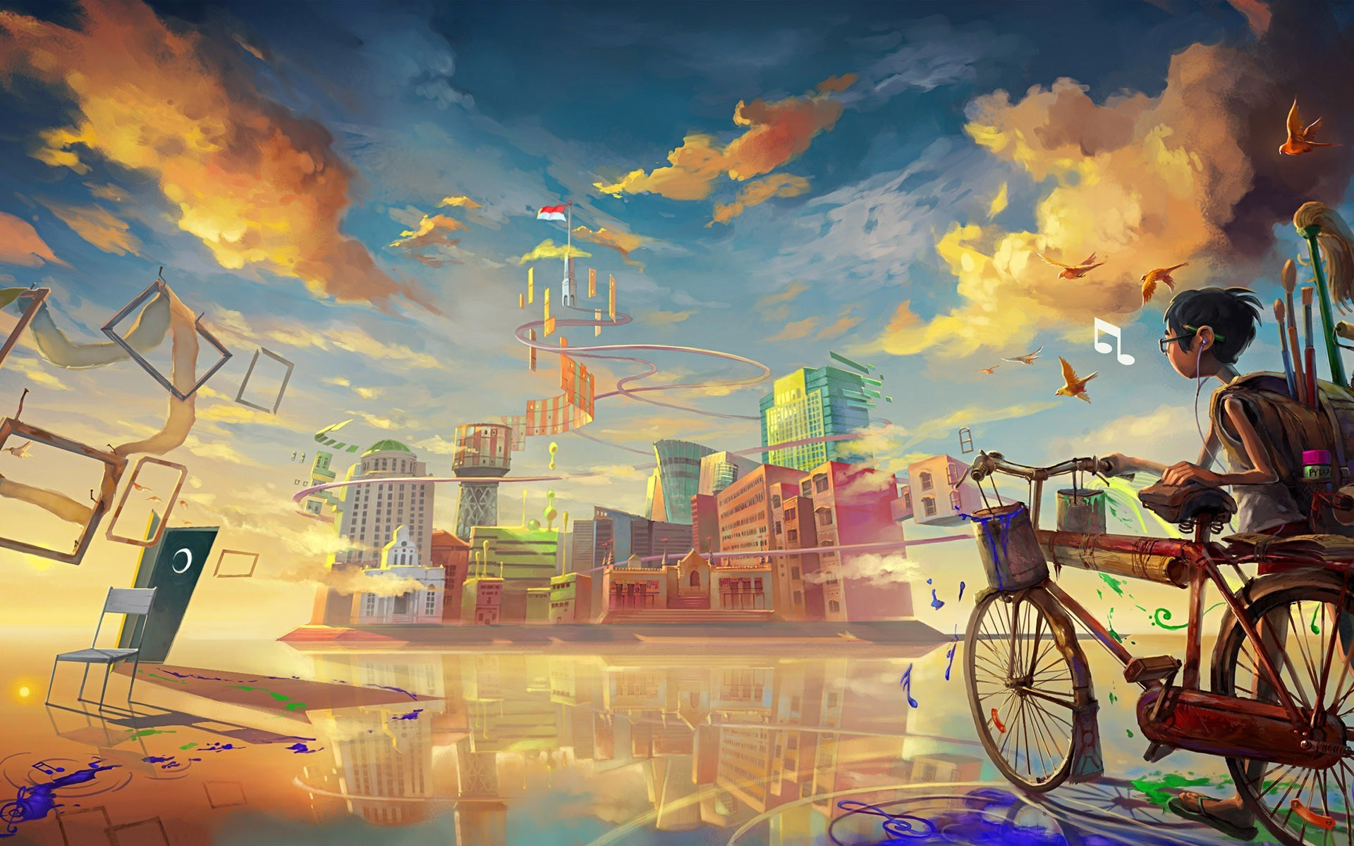 boy-bicycle-city-drawing-paint-art-wallpaper-hd | wallpaper.wiki