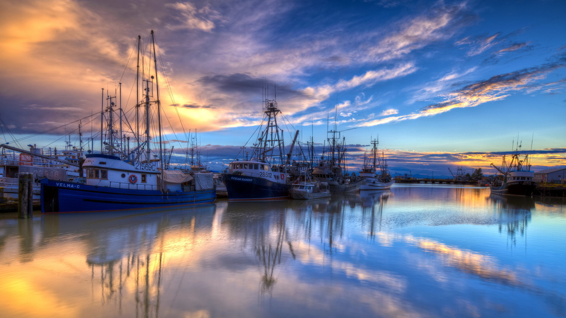 fishing boats harbor wallpaper hd