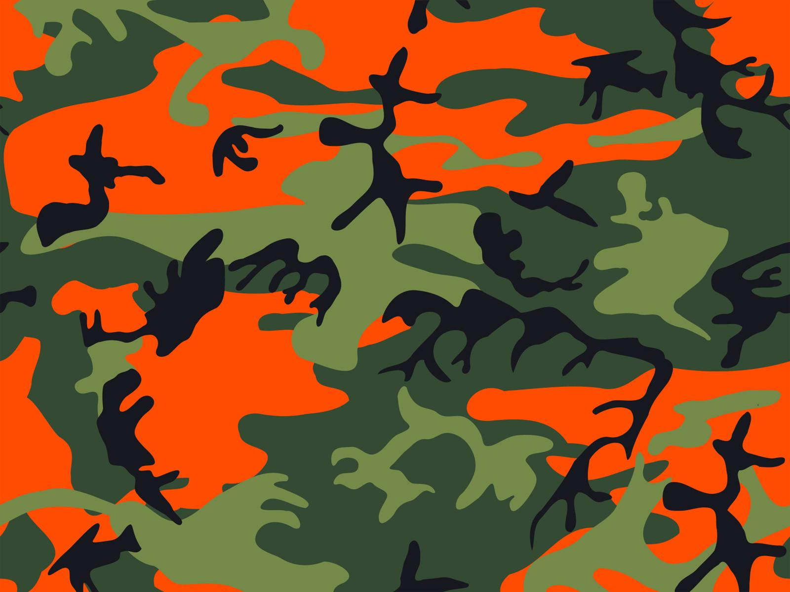 Hunter Orange Army Print Camouflage Ppt Backgrounds