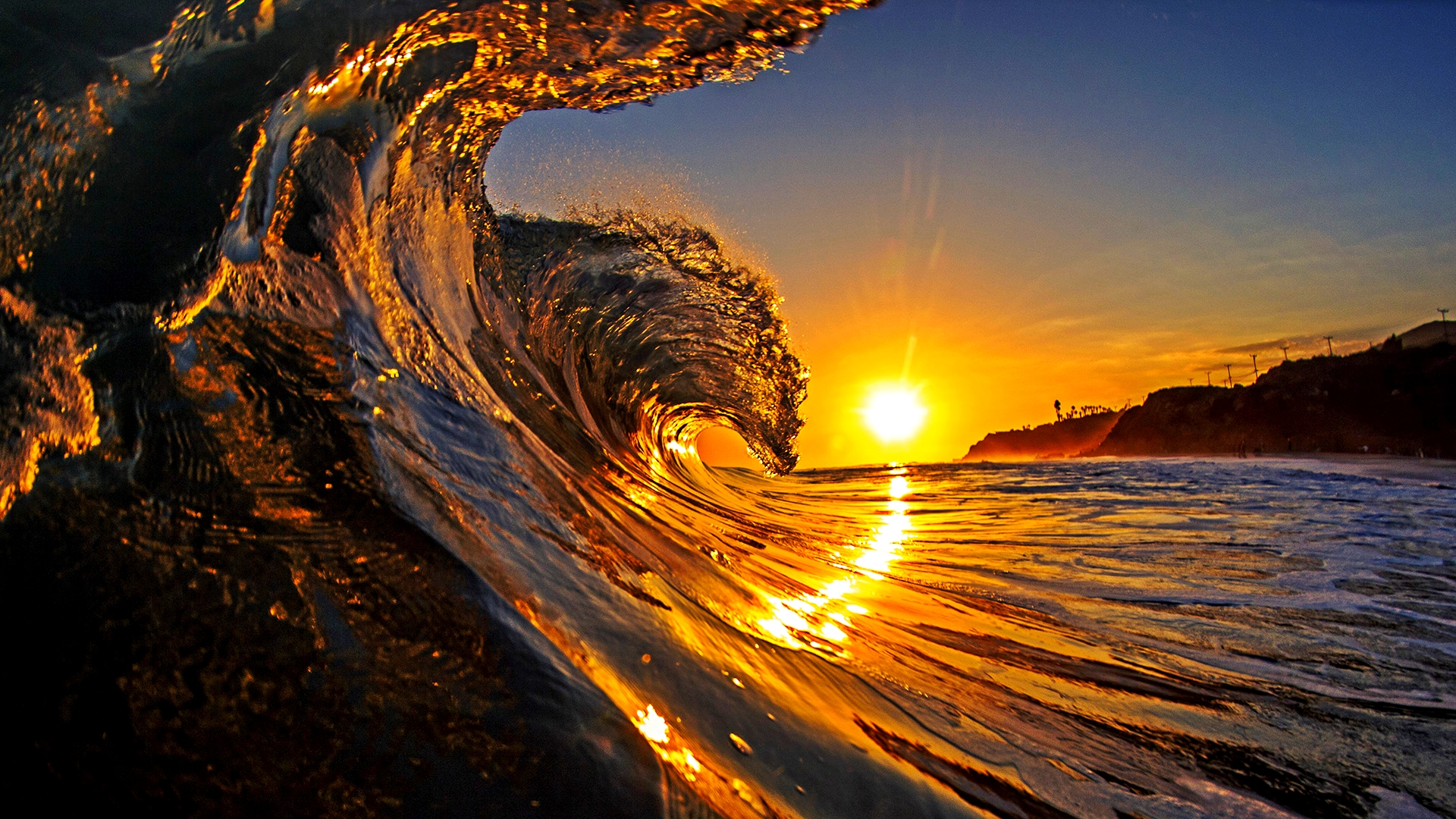 majestic wave at sunrise, california, usa | wallpaper.wiki